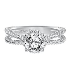 "Artcarved Diamond ""Serina"" Four Prong Split Shank Halo Engagement Ring in 14kt White Gold · 31-V546ERW · Ben Garelick Jewelers"