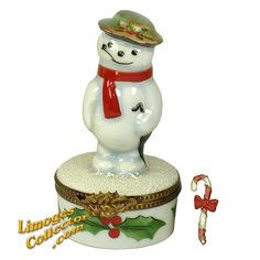 SNOWMAN WITH UMBRELLA ON HOLLY LIMOGES BOX (ROCHARD)