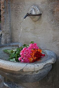 old stone fountain