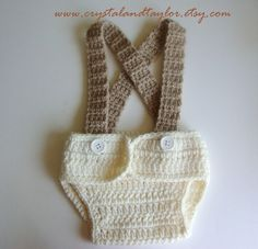 Baby Boy Crochet Diaper Cover and Suspenders - Perfect for Photos - Cream and Light Brown. $20.00, via Etsy.