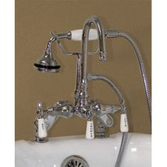 Deck Mount High Spout Clawfoot Tub Faucet with Handshower & Lettered Porcelain Lever Handles by Randolph Morris $350