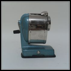 Boston Vacuum Mount Pencil Sharpener. $40.00, via Etsy.  vintage metal pencil sharpener just like we had in school, in blue and chrome color, by stillthemind still the mind at etsy