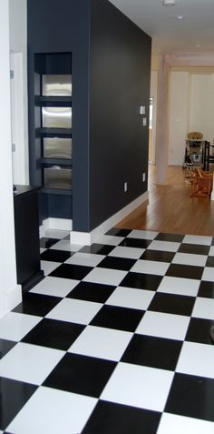 Black and white laminate kitchen floor install