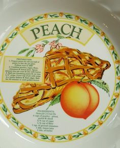 Himark Golden Pie Peach Recipe Pie Bakers Pie Plate with Peach Pie Recipe Vtg | eBay & 9