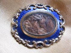 Victorian Mourning Brooch Hair and Blue by victoriansentiments, $150.00
