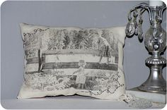 Print any picture onto freezer freezer paper then iron onto fabric  = custom made pillow case.