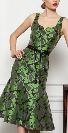 Carolina Herrera - green and black dress. Color and style perfect!