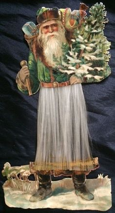 ANTIQUE VTG Large Die Cut Embossed CHRISTMAS SANTA CLAUS with angel hair - 9""