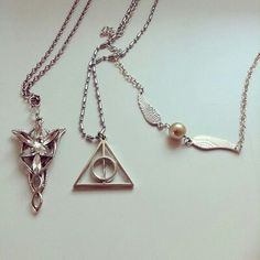 The lord of the rings and Harry Potter necklaces