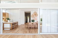 Kyal and Kara's Central Coast Australia home renovation - getinmyhome. Scandi kitchen and dining room. Timber and white kitchen. Queenslander home. Coastal Bedrooms, Coastal Living Rooms, Coastal Cottage, Coastal Homes, Coastal Decor, Coastal Style, Seaside Bedroom, Coastal Curtains, Coastal Rugs