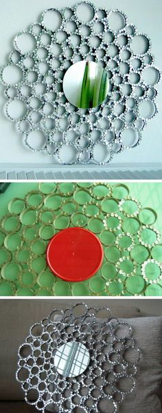 Sequin TB Roll Sunburst Mirror | Click Pic for 20 Dollar Store Crafts for Home Decor Ideas for Cheap | DIY Home Decor Hacks Tips and Tricks