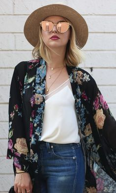 Floral Kimono Wrap + White Silk Camisole + High Waisted Skinny Jeans + Gold Slip On Sandals + Pink Mirrored Sunglasses + Straw Hat