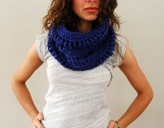Cowl in Cobalt by SpiderWomanKnits or view in Ravelry at http://www.ravelry.com/patterns/library/drop-stitch-cowl-3#