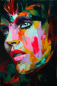 Dream State...by Francoise Nielly  - dreaming is so peaceful & serene for me #tcarter2012 Pintura Graffiti, Colorful Paintings, Paintings Of Faces, Art Paintings, French Artists, Face Art, Portrait Art, Acrylic Portrait Painting, Portrait Paintings