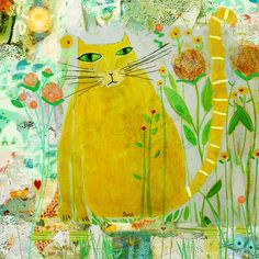 Meeka Fine Art Print by Sarah Kiser Cat Doodle, Cat Sketch, Cat Quilt, Cat Drawing, Cat Design, Whimsical Art, Illustration Art, Cat Illustrations, Animal Paintings