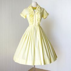 vintage 1950's dress sunny girl JONATHAN LOGAN yellow by traven7, $140.00