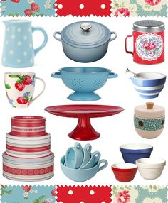 vintage blue and red kitchen.  I wanted blue Paula dean dishes but they were out so I got red...But i still want blue in my kitchen This combo would solve this dilemma!