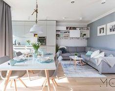 Mieszkanie Targówek - Średni salon z kuchnią z jadalnią, styl nowoczesny - zdjęcie od Pracownia Architektoniczna Małgorzaty Górskiej-Niwińskiej