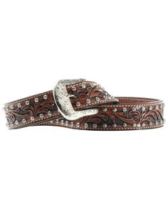 Rustic charm meets urban chic with this eclectic accessory. Combining handcrafted leather, floral studs and a hand-etched removable buckle, this piece ensures pants stay stylishly secure. Western Belts, Urban Chic, Rustic Charm, Westerns, Studs, Take That, Antiques, Brown, Leather