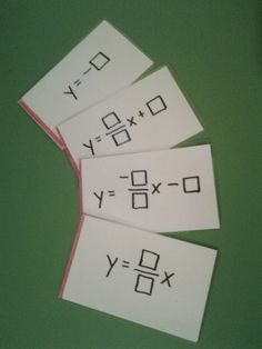 Type-A Mathland: Practice graphing linear equations using dice and laminated cards in slope-intercept form.