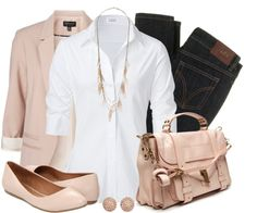 """Button Down & Blush"" by qtpiekelso on Polyvore"