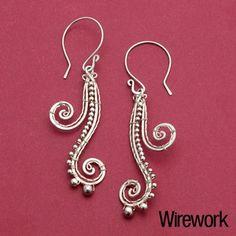 Waterfall fern earrings.  Find more projects on ArtJewelryMag.com