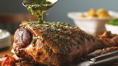 Roast Lamb with Herb, Caper and Lemon Butter Sauce