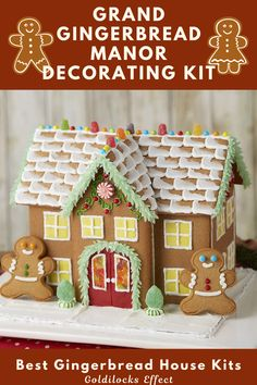 If you've got big expectations, This kit will fulfill your holiday decorating dreams! This Grand gingerbread manor is ready to build and decorate to your heart's content. Contains everything you need for 1 of 2 looks or get creative and make it your own. Includes 2 gingerbread kid cookies, 4 types of candy, Yellow fondant, white ready-to-use icing, Green and Red icing tubes, decorating bag and tip and instruction sheet. Best Gingerbread House Kit, Gingerbread Cookie Mix, Cardboard Gingerbread House, Cool Gingerbread Houses, Paper Decorations, Christmas Decorations, Classic Holiday Movies, Types Of Candy, Cookie House
