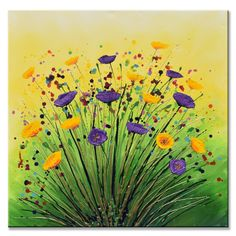 Summer SmileOne of a kind artworkSize: 24x24 × 1.5 inchesSigned on the reverseVarnishedWith signed Certificate of AuthenticityOriginal painting in purple and yellow, with bright flowers. Painted on a deep edge canvas, the sides are painting and it's ready to hang straight from parcel box to wa