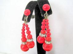 Red Glass Earrings - Red Beads - Rhinestone Rondels - Dangle Screw Backs