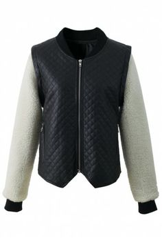 Faux Fur Sleeved Quilted Bomber Jacket