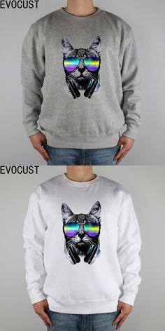 Music lover cat DJ Funny 2017 fashionmen Sweatshirts Thick Combed Cotton