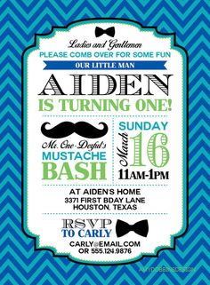 Mr. ONEderful - Mustache Bash - First Birthday Invitation - Custom Colors,  Digital Invitation - Personalized - Print From Home on Etsy, $13.00