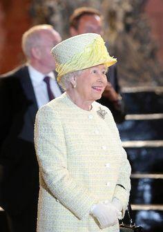 Queen Elizabeth II visit the HBO TV series 'Game of Thrones' set in Belfast's Titanic Quarter on June 24, 2014