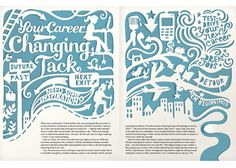 Kate Forrester - handrendered typography, contrasted with body copy of magazine layout