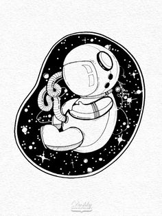 space sticker by #dushky for #umanshop | #space #astronaut #embryo #stars #universe #illustration #sticker