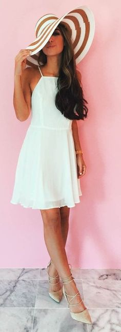 LOVE this Striped Wide Hat + LWD   The Darling Detail; the hat would be great for when we are in SC!