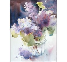 Lilac Original Watercolor Painting 9x12 inches by CMwatercolors, $120.00