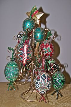 some  of my christmas-y pysanky eggs-by Jckie Stasevich