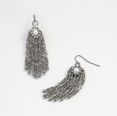 Earrings made with metal seed beads and pearls