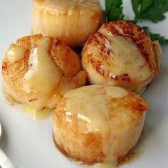 Seared Sea Scallops in Saffron Sauce. Perfectly seared sea scallops swimming in a flavorful saffron sauce. It& the perfect special occasion entree. Fish Recipes, Seafood Recipes, Cooking Recipes, Recipies, Dinner Recipes, Bread Recipes, Holiday Recipes, Cooking Tips, Think Food
