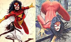 'An industry still trying to remember that women may perhaps read comics' … variant covers of Marvel's new Spider-Woman comic, one by Greg L...