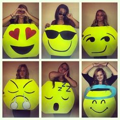 The more people you have in your crew, the more creative you can get with your Halloween costumes! Check out these friends who seriously rocked the spooky day. Halloween Motto, Emoji Halloween Costume, Halloween Costumes 2014, Cute Costumes, Holidays Halloween, Halloween Decorations, Halloween Party, Costume Ideas, Group Costumes