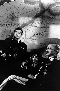 """Claude Rains, as Captain Renault; and Conrad Veidt, as Major Strasser, in """"Casablanca"""" Hollywood Men, Hollywood Cinema, Hooray For Hollywood, Hollywood Walk Of Fame, Golden Age Of Hollywood, Classic Hollywood, Hollywood Style, Casablanca Movie, Casablanca 1942"""