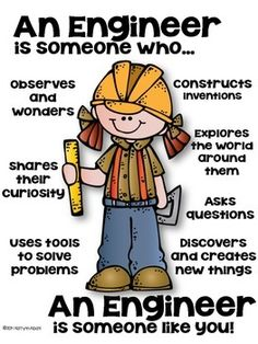 STEM Engineer Poster [someone who] - Set 2 by Kaitlynn Albani Engineering Quotes, Engineering Design Process, Civil Engineering, Classroom Posters, School Classroom, Science Experiments Kids, Science Education, Physical Education, Community Helpers Preschool