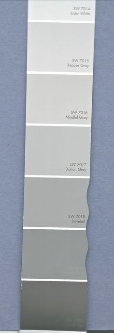 Picking a paint palette is easier with Sherwin-Williams on your side. Cassity from adores these hues that are easy to use in any room. From Mindful Gray SW 7016 to Repose Gray SW click through to read what Cassity has to say! Paint Color Palettes, Grey Paint Colors, Bedroom Paint Colors, Interior Paint Colors, Wall Colors, Neutral Paint, Interior Design, Best Greige Paint Color, Shades Of Grey Paint