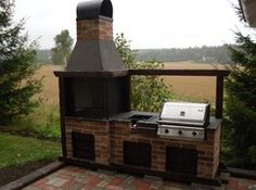 Kesäkeittiö kaasuvarustein Bbq Table, Outdoor Spaces, Outdoor Decor, Survival Mode, Bbq Grill, Cottage, Patio, Entertaining, Doors