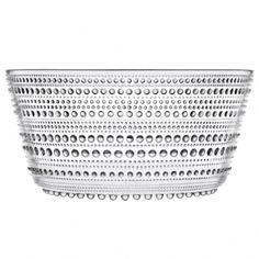 Iittala Medium Kastehelmi Bowl in Clear // concentric dots design