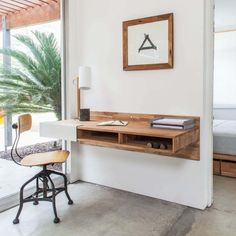 Small Home Offices, Desks For Small Spaces, Small Space Living, Small Rooms, Small Space Office, Bedroom Desk, Small Room Bedroom, Trendy Bedroom, Diy Bedroom