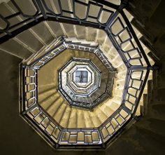 Upward spiral    Stairway inside the lighthouse on top of the Brunate town in Lago di  Como, Italy.